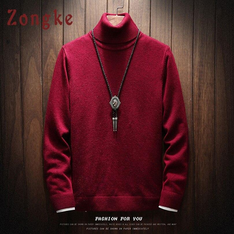 Zongke Turtleneck Sweater Men Solid Christmas Knitted Sweater Men Turtle Neck Men's Turtleneck Sweater Male Pullover 2019 Winter