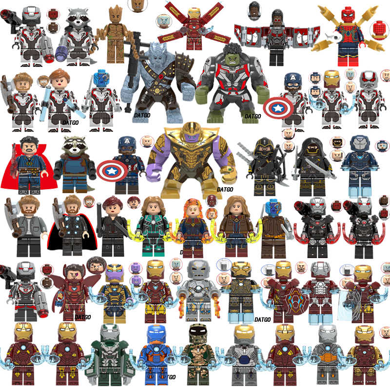 Marvel Avengers 4  Super Heroes Legoings Endgame iron man Captain America Spider war Thanos Hulk Building Blocks Figures Toys