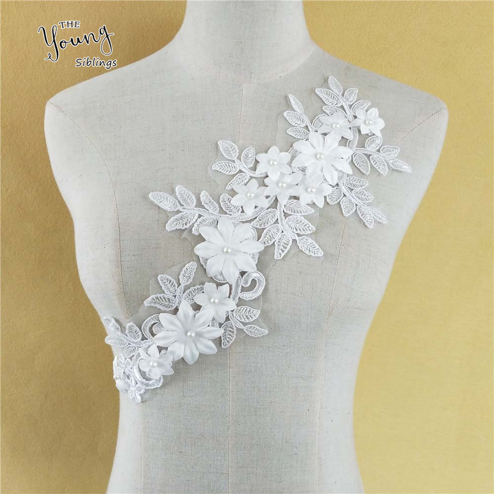 Shevalues 2Pcs Women Fashion Dress White Collar Flower Lace Trims Neckline Sewing Applique Clothing Accessories DIY