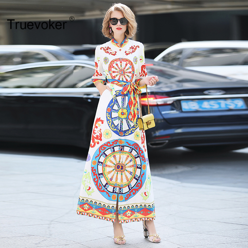 Truevoker Spring Designer Long Dress Womens High Quality Full Sleeve Colourful Wheel Printed Diamond Sequins Loose Maxi Dress