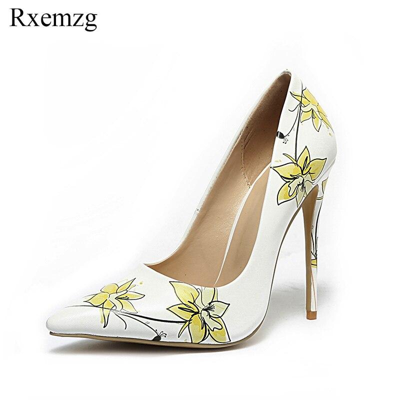 72bb0aa1 Gran Boda Impreso Tamaño Altos 12cm Flor Nuevo Rxemzg 34 Mujer Zapatos  Tacones 45 10 Moda ...