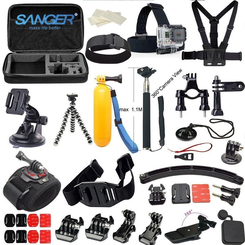 SANGER for Gopro Accessories Set Kit 37 In1 for Xiaomi Yi Action Camera Go pro Hero 5 4 3+ 3 Sjcam Bag Monopod Head Chest Strap пальто мех mala mati черный