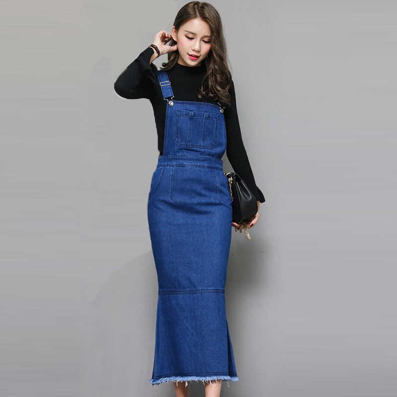 ddbd4402543 2018 New Spring Sexy Slim Sweet Jeans Mermaid Dress Women Washed Blue Suspender  Denim Sundress Denim