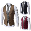 Wholesales Men's Clothing 2016 Korean Slim Fit Double Breasted Suits Vest Man England Gentle Contrast Waistcoat Mens Tops Gifts