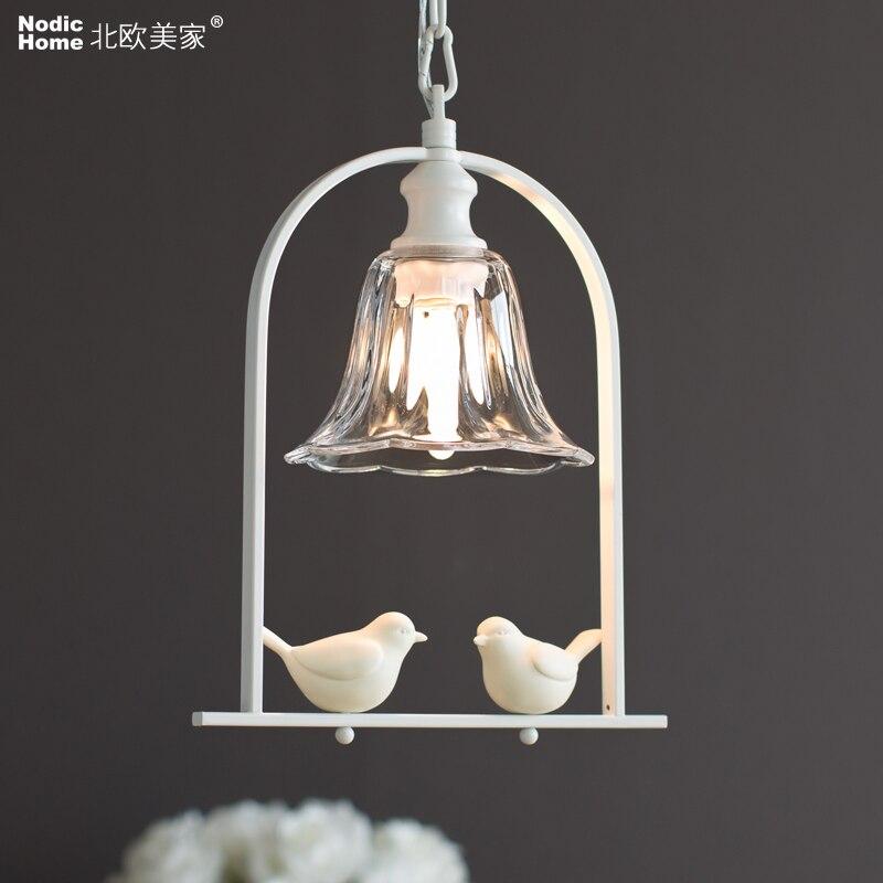 Suspension vintage industrielle originale oiseau designer abat-jour en verre E27 suspension porte-lampe loft bar lampes Led ampoule E14