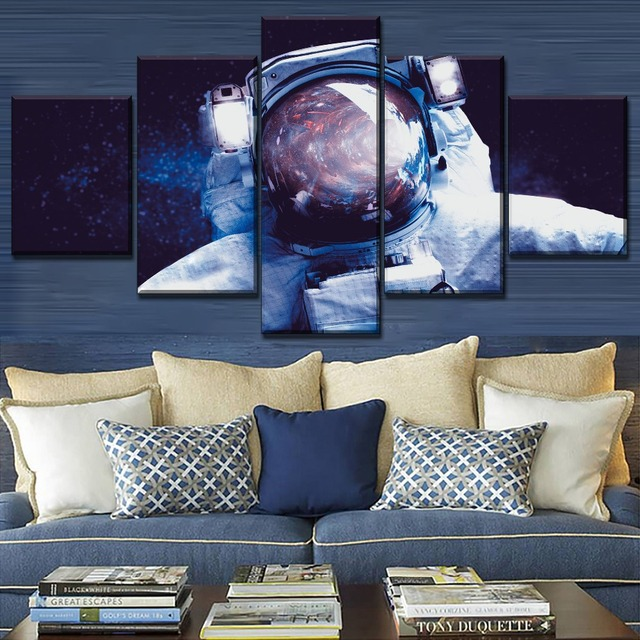 Modular Combinatorial Art Style Poster 5 Piece Starry Sky Abstract Astronaut Draw Modern Home Wall Decorative Canvas HD Print