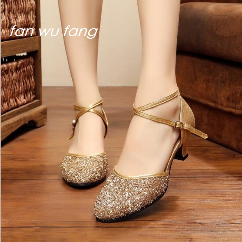 fan wu fang Hot Sales Glitter Latin Dance Shoes 5 5cm Ballroom Dancing Shoes Women Ladies