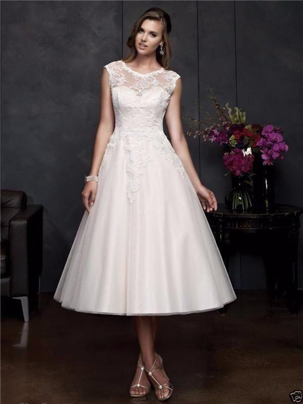 A line Scoop Short 2018 Lace Appliques Sleeveless vestido de noiva Custom Vintage Tea Length Bridal Gown   bridesmaid     dresses