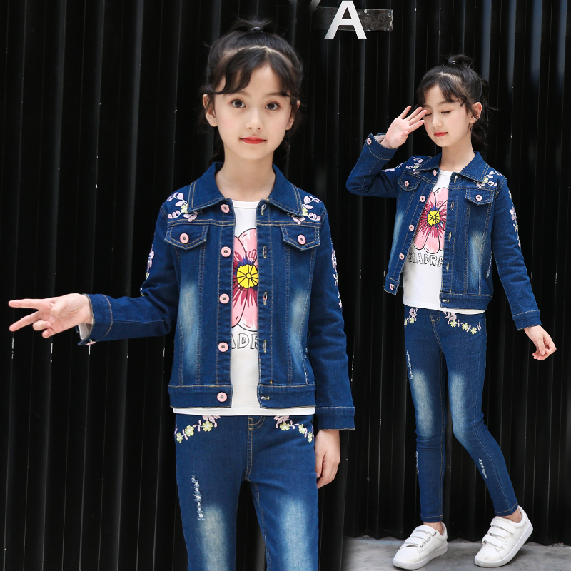 2019 New Girl Denim Clothes Set Spring Autumn Children Girls Cotton Beauty Flower Print Suit Worn Washed Two Piece Denim Set 10y
