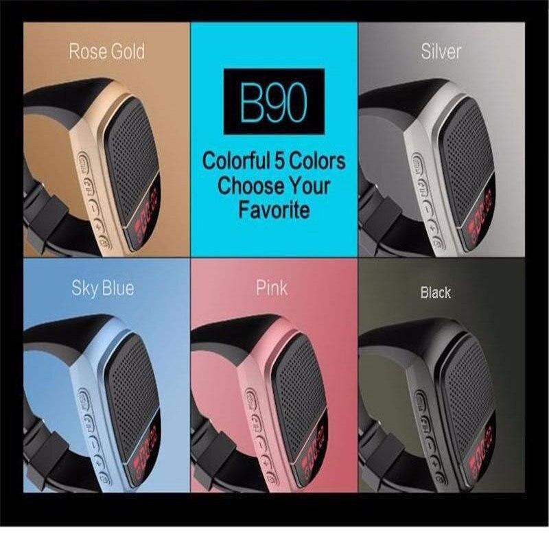 Mini B90 <font><b>Smart</b></font> <font><b>Watches</b></font> Stopwatch Alarm Clock Sports Music <font><b>Watch</b></font> Hands-free FM Radio Self-timer Anti-Lost Alarm Bluetooth Speaker