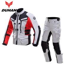 DUHAN Men Motobike Motorcycle Jacket Pants Sets Waterproof Motocross Racing Suits Road Riding Raincoat Clothing