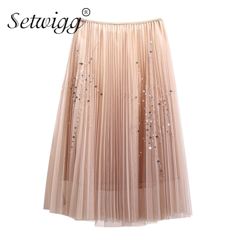 SETWIGG Sweet Stars Sequined Layered Tulle Long Pleated Summer Skirts Elastic Waist A-line Mesh Below Knee Spring Skirts SG906