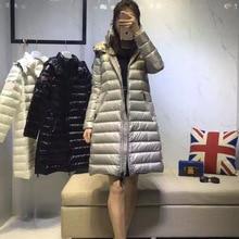 2016 Новый Зимний Пуховик Средней Длины Модные Вниз пальто женщин С Капюшоном Теплая Куртка