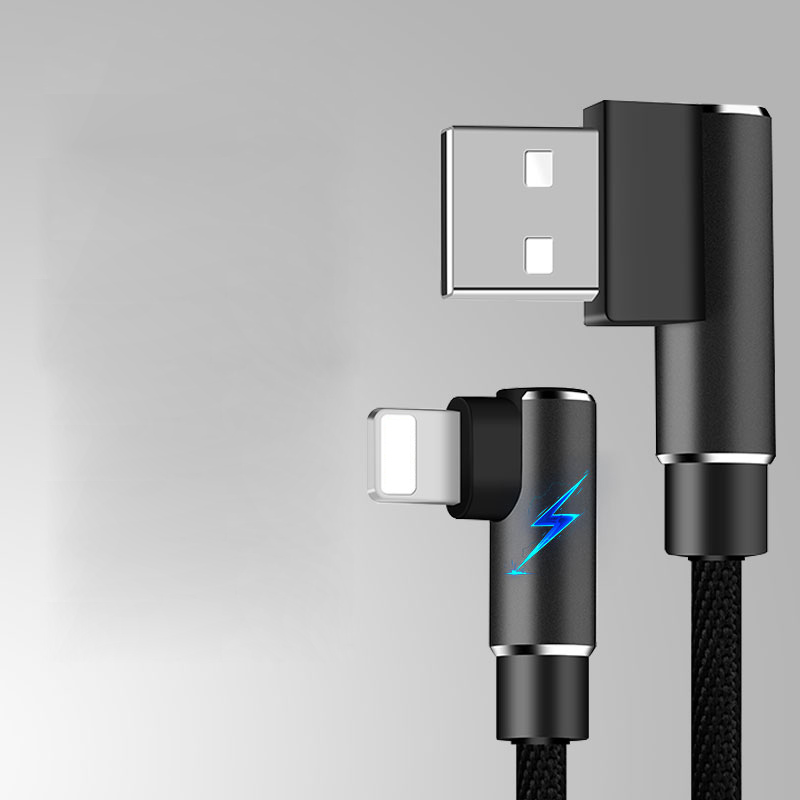 Suntaiho USB Cable for iPhone xs max XR 8 7 6 6s charging Cable 90 Degree Elbow Charging Cord for iPad for iPhone Se 5S USB Cord