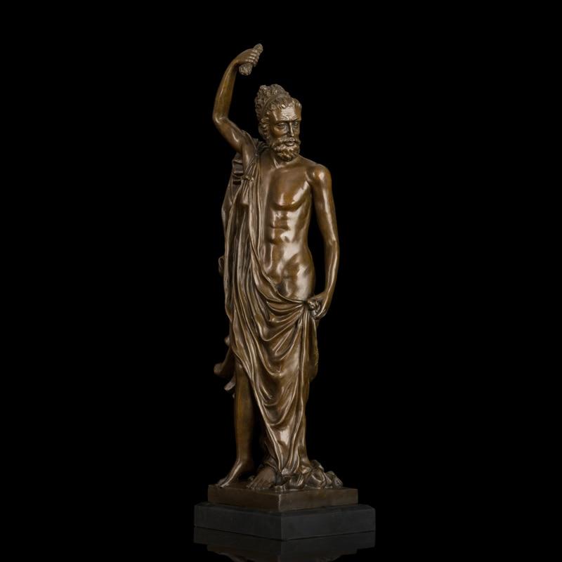 ATLIE Antique Bronze Male Sculpture Western Man Statue Vintage Figurine Art Decor for Indoor Decoration