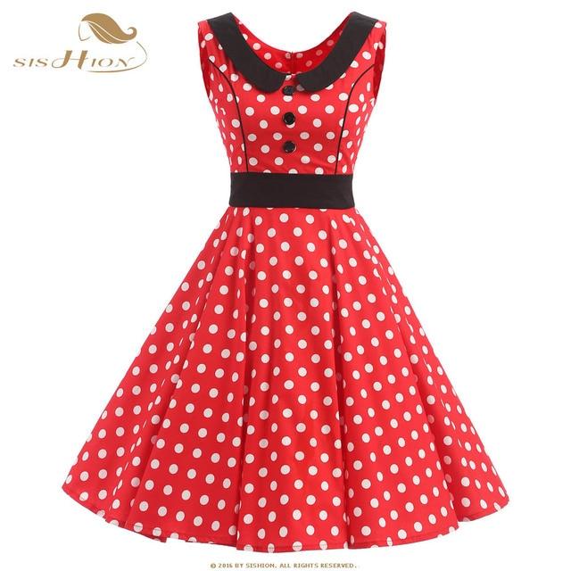 Sishion Women Summer Red Dress Plus Size Cotton A Line Polka Dot