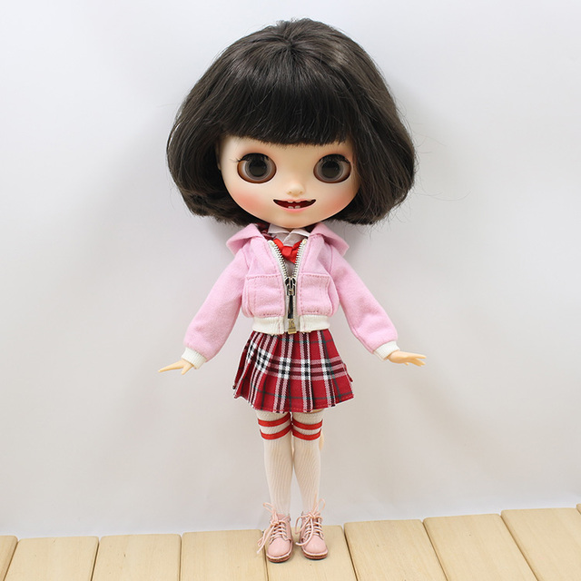 Neo Blythe Doll Red Skirt White Shirt Stocking Pink Coat