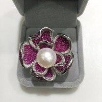 Натуральный пресноводный жемчуг кольцо стерлингового серебра 925 Цветок проложить камень большой цветок милый романтический Fine Jewelry регули