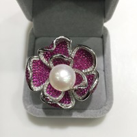 natural fresh water pearl ring 925 sterling silver flower pave stone big flower cute romantic fine jewelry adjustable size
