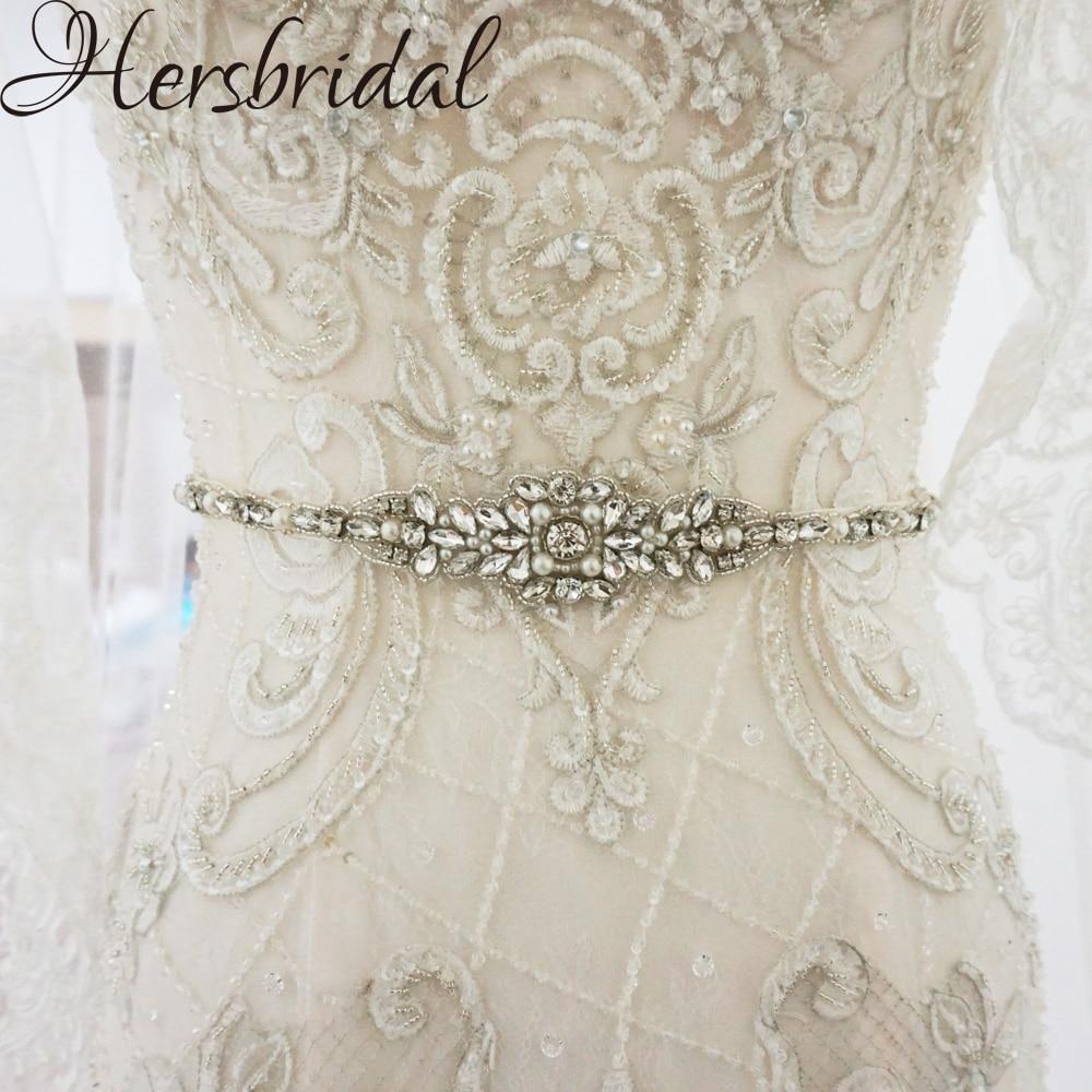 Pearls And Rhinestone Bridal Belt Silver Sashes Wedding Dress Belt