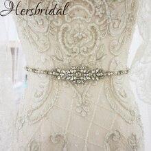 Perły i Rhinestone pas ślubny srebrne szarfy pasek do sukni ślubnej