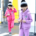 3 Pcs/1 Lot 2016 Winter Baby Girls Clothes Sets Children Cotton Coat  Waistcoat Pants Kids Warm Outerwear Suits Clothes GH281