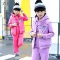 3 Pcs/1 Lot 2016 Winter Baby Girls Clothes Sets Children Cotton Coat  Waistcoat Pants Kids Warm Outerwear Suits Clothes GH281
