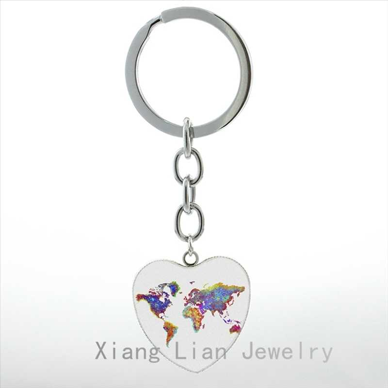 Watercolor World Map illustration keychain London New York Paris skyline Poster  pture pendant key chain ring gift HP240