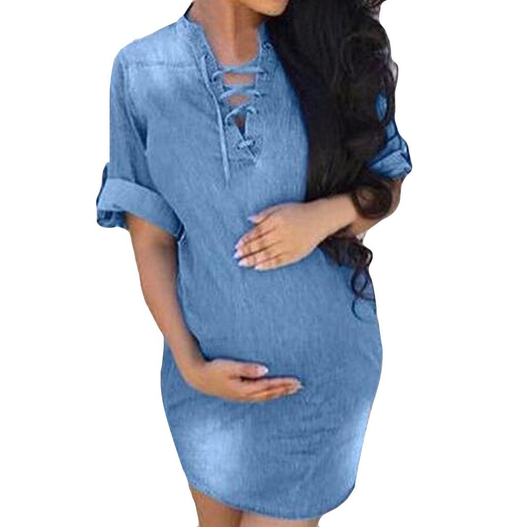 ISHOWTIENDA Women Cowboy Half Sleeve Ladies O-Neck Solid Color Casual Pregnant Dress Denim Pregnant Dress Ropa Embarazada
