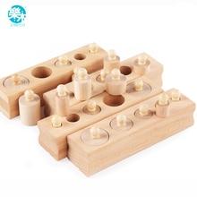 Logwood Picket toys Montessori Instructional Cylinder Socket Blocks Toy Child Improvement Apply and Senses