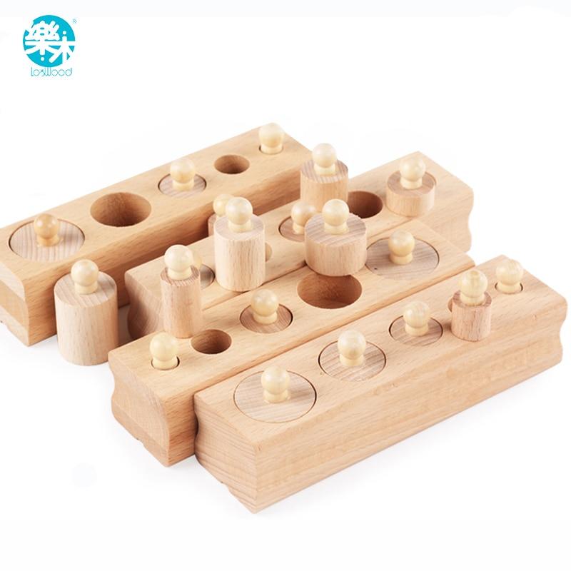 Logwood magazzino Russo giocattoli di Legno Educativo Montessori Cilindro Presa Blocchi Giocattolo Del Bambino di Sviluppo Pratica e Sensi