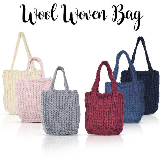 Thick Single Shoulder Wool Woven Bags Solid Color Casual Handmade
