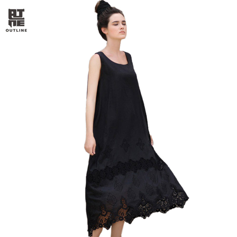 Outline Women Silk Cotton Summer Dresses Vintage Sleeveless O Neck Hollow Out Lace Beach Casual Sundress