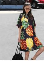 JOYINPARTY New Euro Women Spring Black Pink Pineapple Printed Dress O Neck Half Sleeve Cute Ladies