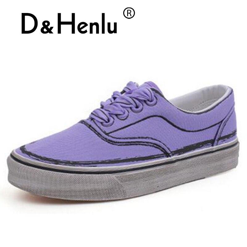 Baskets Toile Shoes purple Plate Henlu} Shoes Black Décontractées Femmes Lacets Canvas forme En À Chaussures {d Sneakers amp; Pourpre white Shoes Noir Blanc wtRxWqfqXH