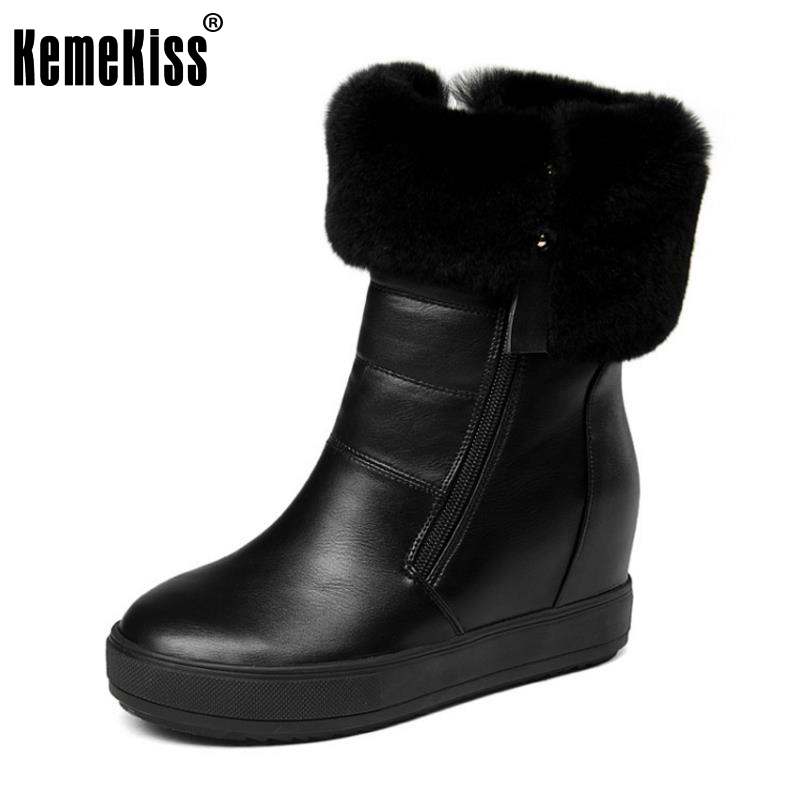 KemeKiss Women High Wedges Boots Snow Boots Platform Plush Fur Shoes Women Winter Boots Warm Botas Women Footwears Ssize 34-40 thigh high over the knee snow boots womens winter warm fur shoes women solid color casual waterproof non slip plush wedges botas
