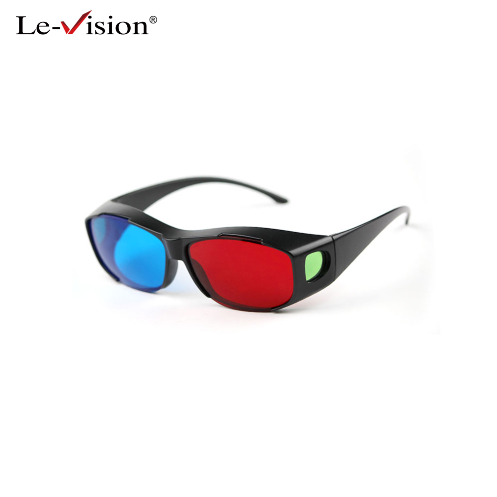 Le-Vision Universal 3D Glasses Red Blue Cyan Black Frame Movie TV/Computer Game DVD Vision/Cinema Anaglyphic 3D Plastic Glasses