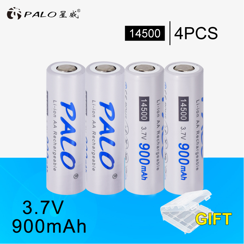 PALO 2PCS/LOT AA 14500 battery 900mah Original 3.7V lithium li ion rechargeable batteries for LED 14500 flashlight free delivery ultrafire lc 14500 rechargeable 900mah 3 6v li ion battery blue