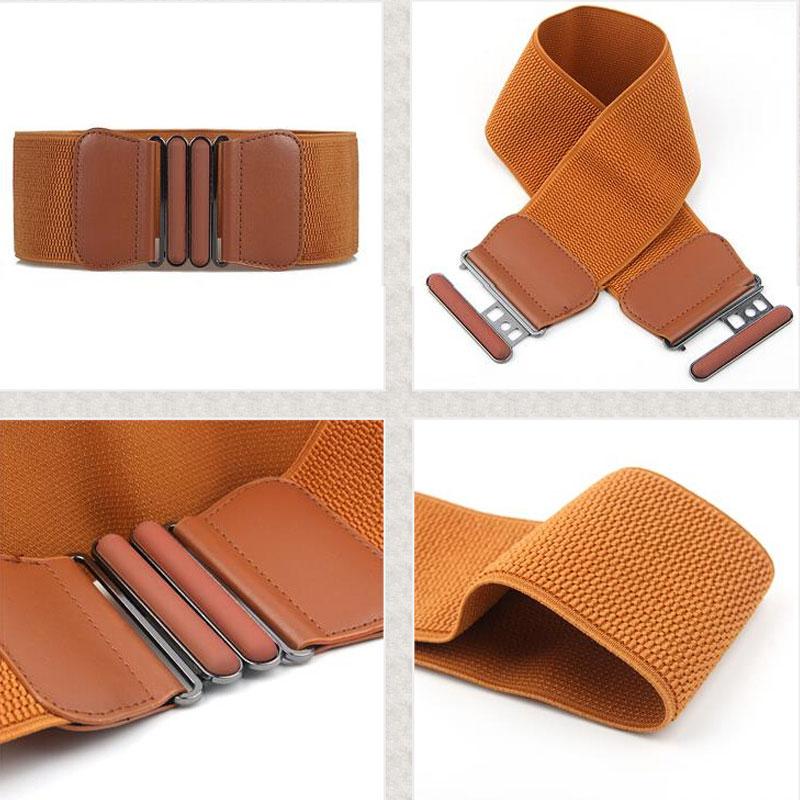 Women Lady Solid Stretch Elastic Wide Belt New Fashion Brand Waist Belts Dress Adornment For Women Waistband Bigsweety