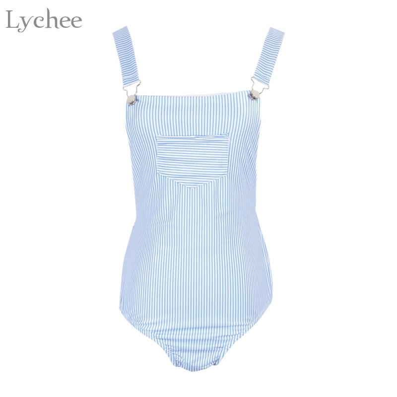Lychee Sexy Summer Women Bodysuits Stripe Pocket Sleeveless Casual Backless Bodycon Bodysuits Female