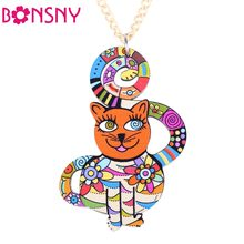 Bonsny Cute Cat Necklace Acrylic ChokerPattern 2016 News Collar Pendant Accessories Animal Fashion Jewelry Famous Brand Unique(China)