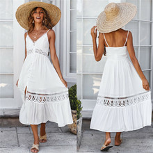 Womens Summer Hollow Spaghetti Strap Long Dress Casual Ladies V-neck Cutout Backless White Loose Holiday Beach Dresses Costume