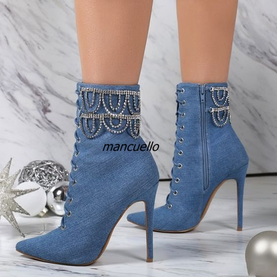 Glamorous Blue Jeans Stiletto Heel Pointy Ankle Boots Cross Strap Crystal Decorated Lace Up Short Boots Trendy fashion Shoes New st decorated up