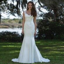 Custom Made Vestidos De Novia White Satin Appliques Lace Mermaid Wedding Dress Bride Dress Robe De Mariee