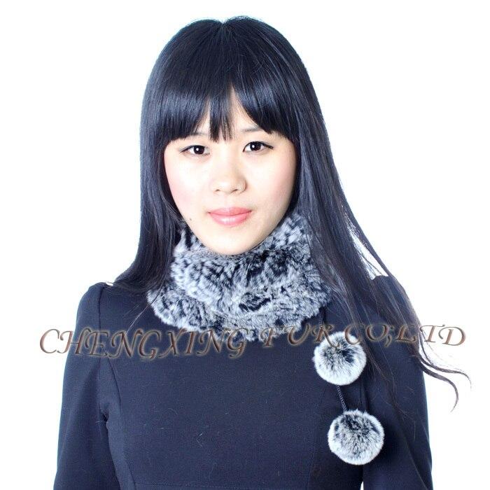 CX-S-160D для девочек, модный двусторонний Настоящий мех кролика, вязаный шарф - Цвет: black frost