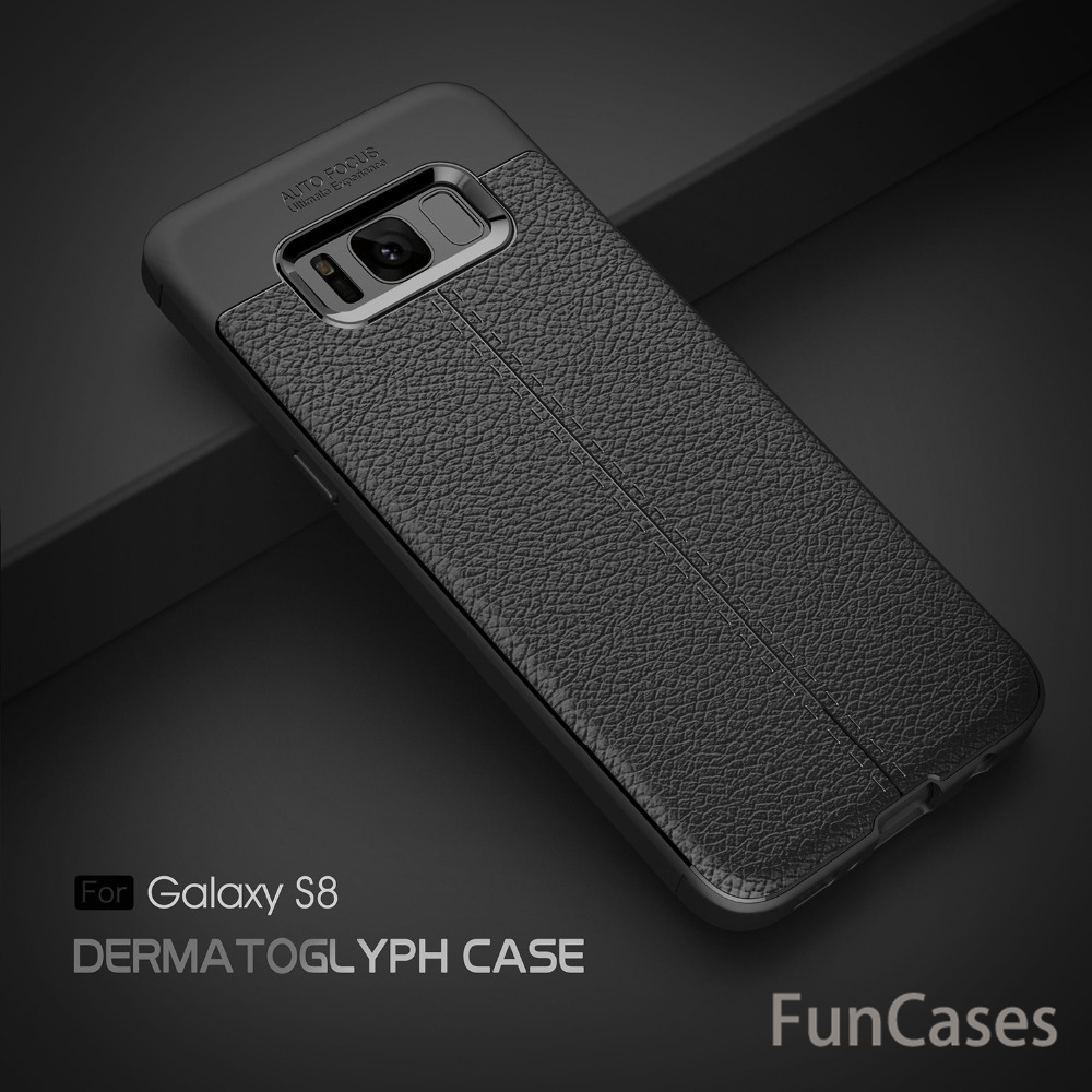 For Samsung S8 Carbon fiber Luxury TPU soft Leather case Cover Silicone soft Cover funda ...