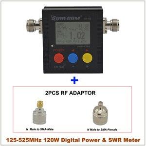 Image 2 - SureCom Medidor de corriente Digital SW 102 SWR, contador de frecuencia y 2 adaptadores RF, cubierta de 125MHz ~ 520MHz para escáner transceptor Ham