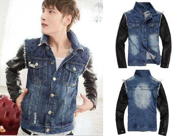 NEW 2014 spring leather sleeve stitching denim jacket, Justin ...