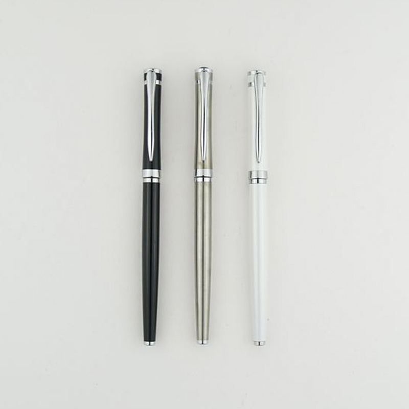 High Quality Pure Stainless Medium Nib 0.5mm Fountain Pen Brand Metal School Study Office Business Writing Pens Gifts