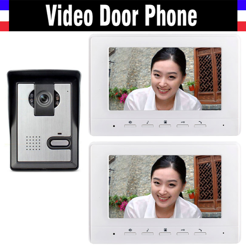 7 inch color lcd video door phone intercom doorbell System video interphone for Villa office 2 monitor  1 Door Camera freeship 10 door intercom security system hands free monitor color tft lcd screen intercom system video door phone for villa